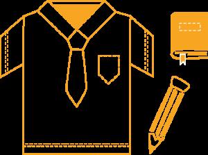 Piirroksessa ääriviivoina koulupuvun paita, koulukirja ja kynä.