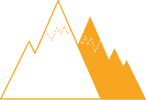 Yksinkertaistettu piirros vuorenhuipuista.