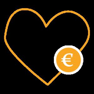Sydän ääriviivat ja ympyrä jossa euron merkki.