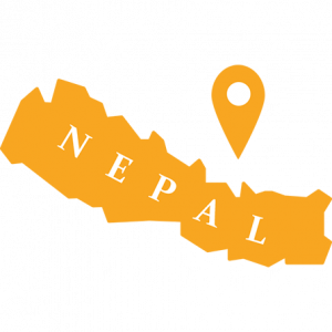 Nepal maan ääriviivat ja karttamerkki.