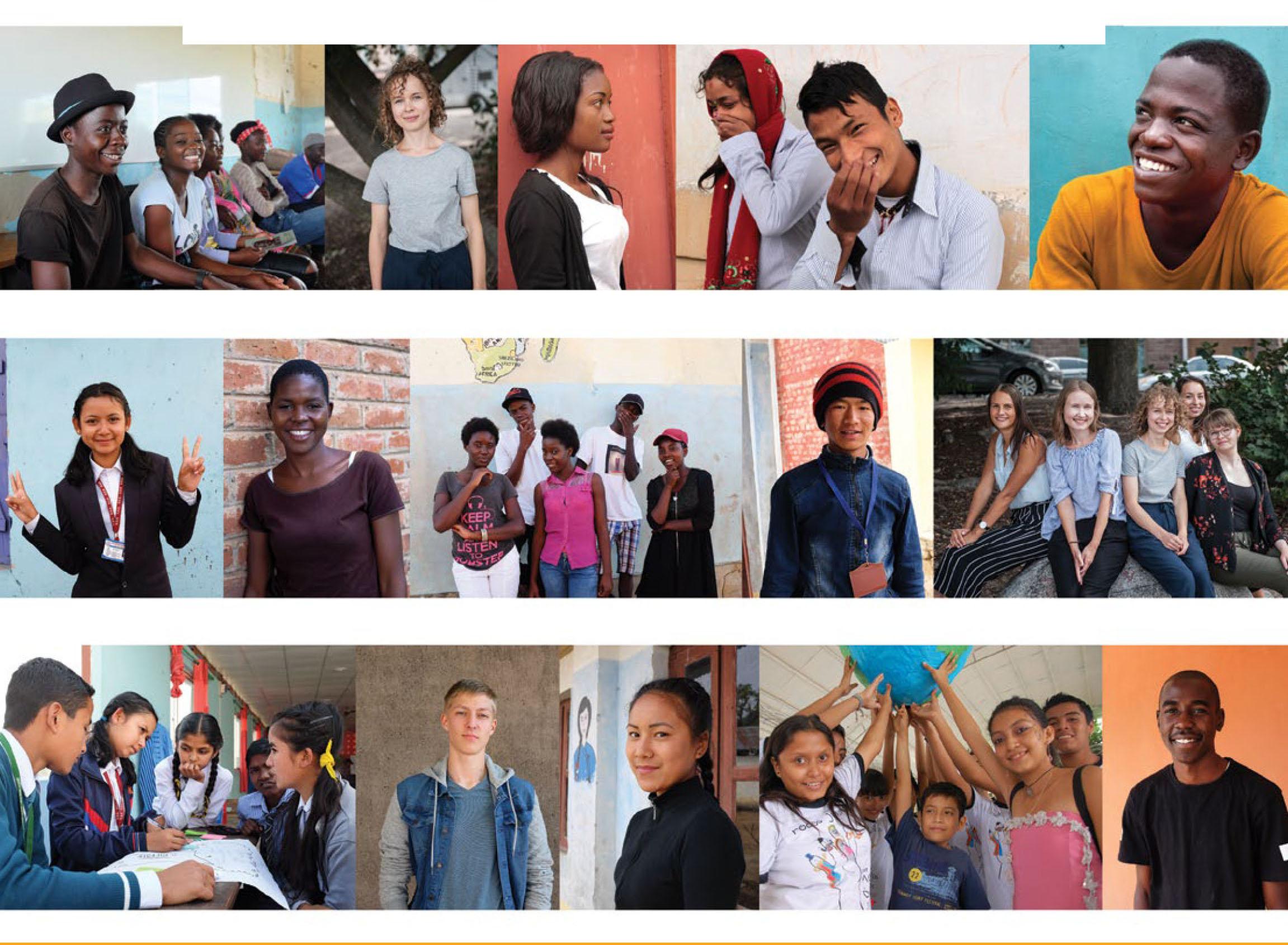 Nuoria eri puolilta maailmaa Maailman äänet oppaan kansikuvassa