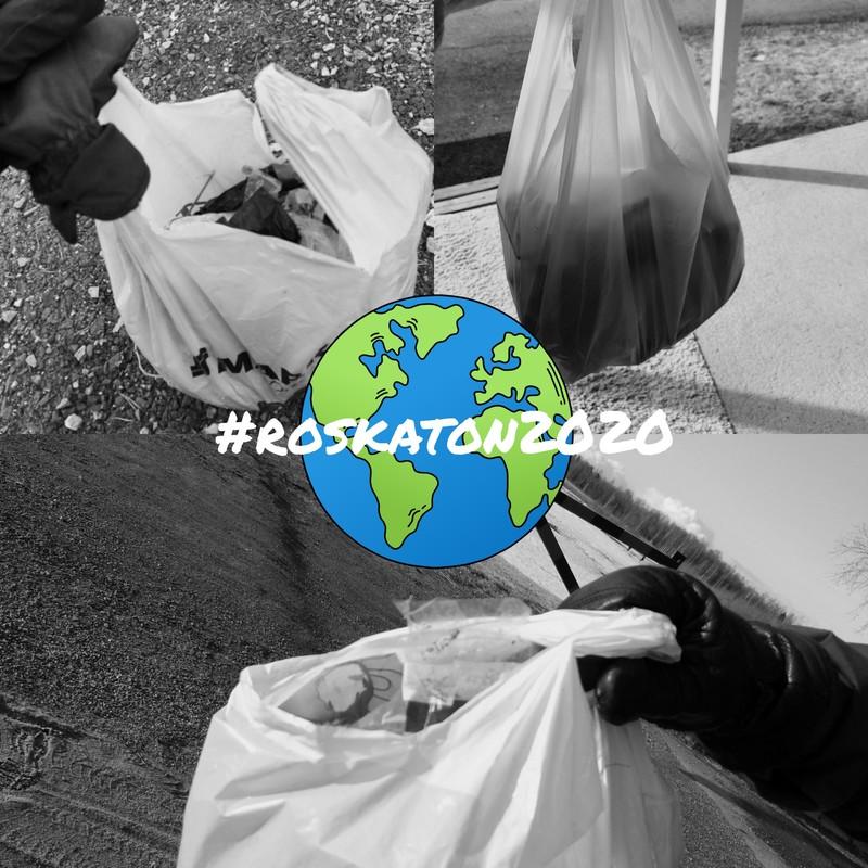 Kuvakollaasi kolmesta roskapussista ja piirretystä maapallosta päällä teksti #roskaton2020.