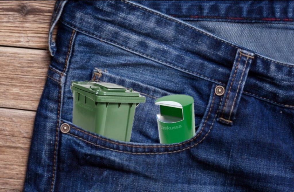 Kuvayhdistelmä roskakoreista farkkujen etutaskussa.