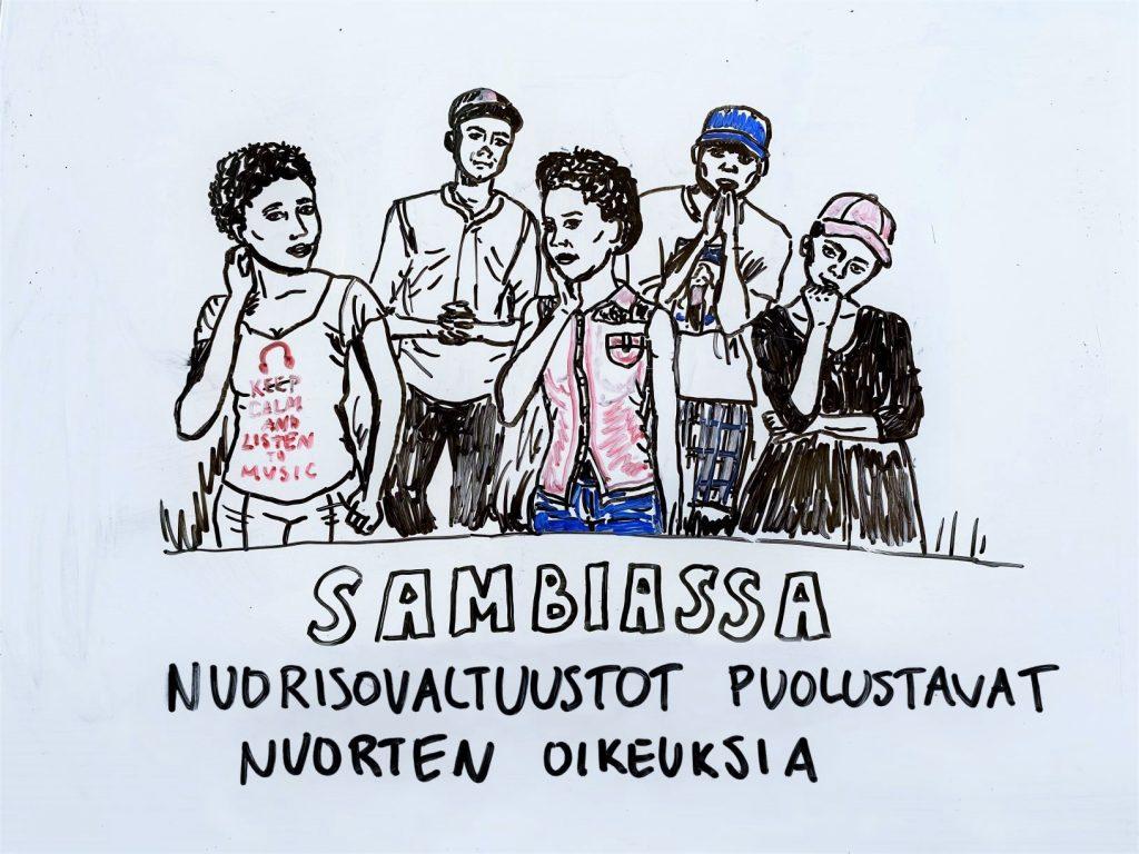 Piirroskuva sambialaisista nuorista.