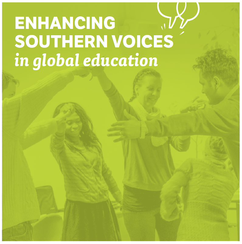 Cover page photo with 5 people with text enhancing southern voices in global education