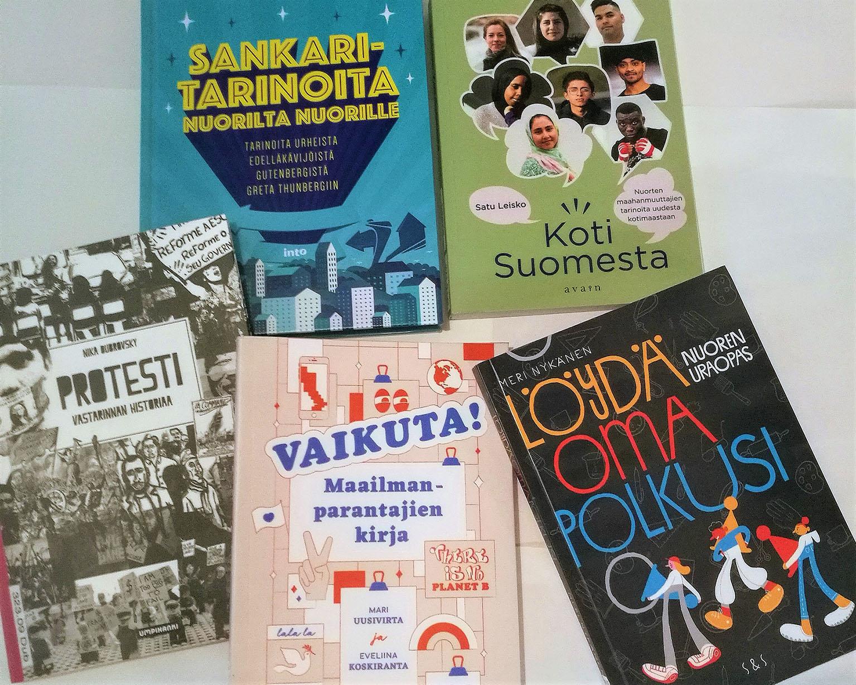 5 kirjan kannet: Sankaritarinoita nuorilta nuorille, Koti Suomesta, Protesti vastarannan historiaa, Vaikuta maailmanparantajien kirja ja Löydä oma polkusi nuoren uraopas.