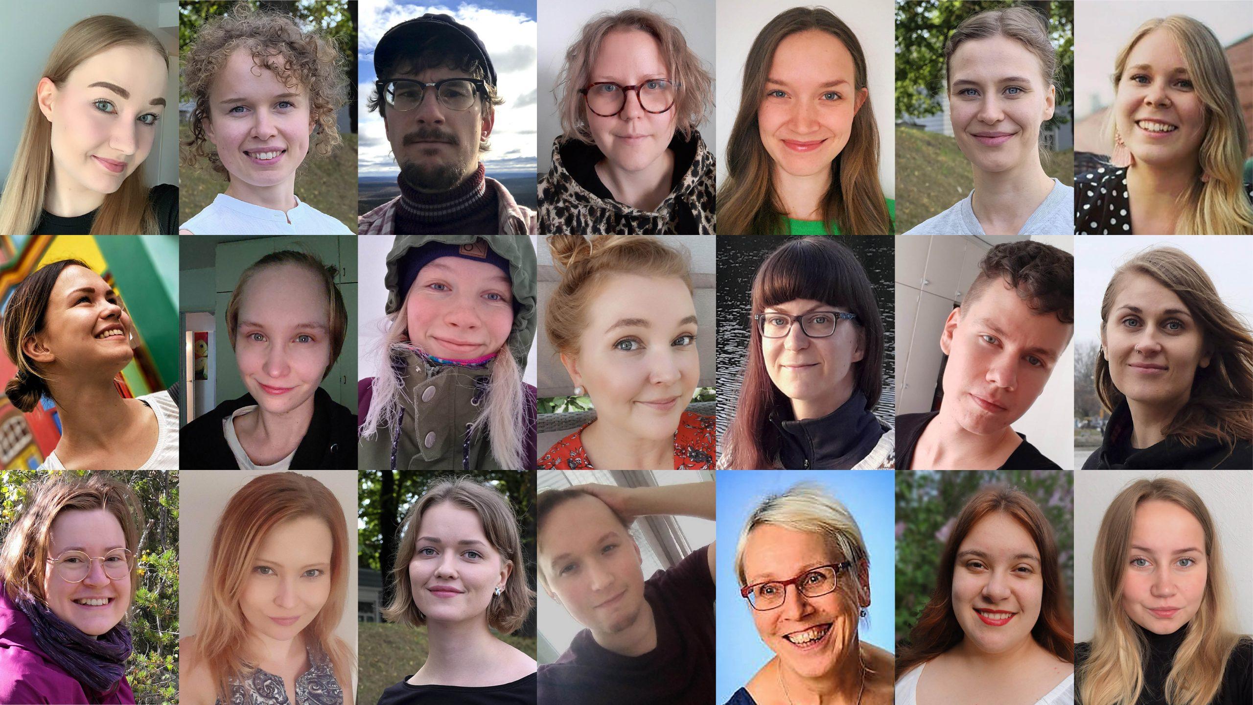 Kuvakollaasissa vapaaehtoiset eli 21 hymyilevän henkilön kasvokuvat.