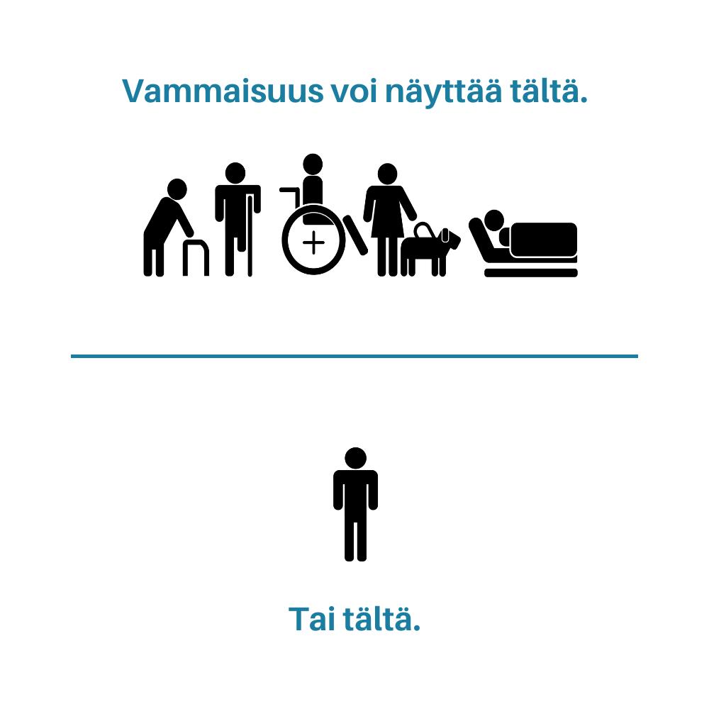Vammaisuus voi näkyä päälle päin – tai sitten ei.